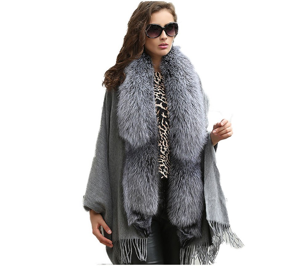Genuine A Complete Fox Fur Cape and 100%Wool Poncho for Women (gray1)