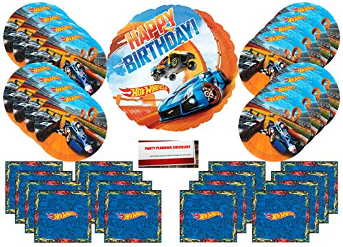 - Hot Wheels Party Supplies Bundle Pack for 16 (Bonus 17 Inch Balloon Plus Party Planning Checklist by Mikes Super Store)