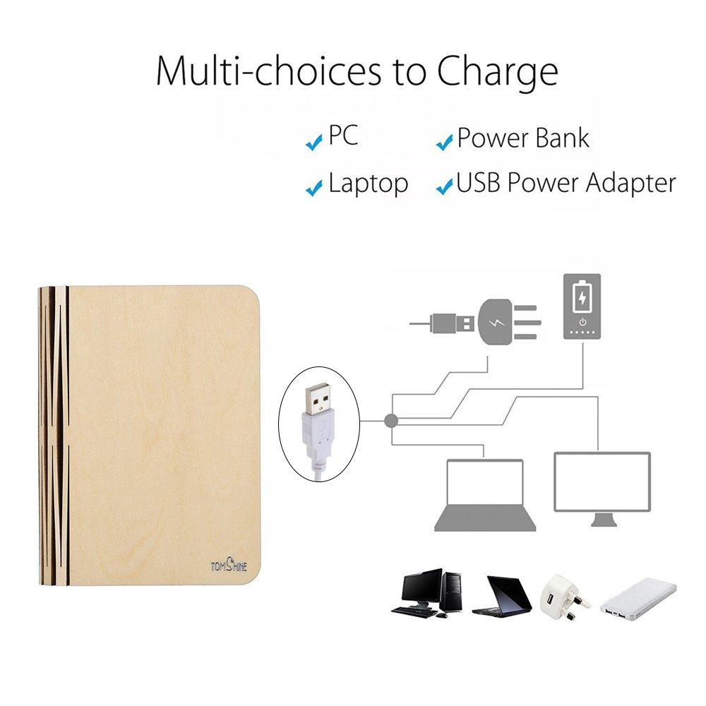 Tomshine Stimmungsbeleuchtung,Buch Lampe,Nachttischlampe,Tischleuchte,Warmweiß aus Holz,Papier mit USB-Kabel,Batteriebetriebene 500LM/500mAh,360°Faltbar