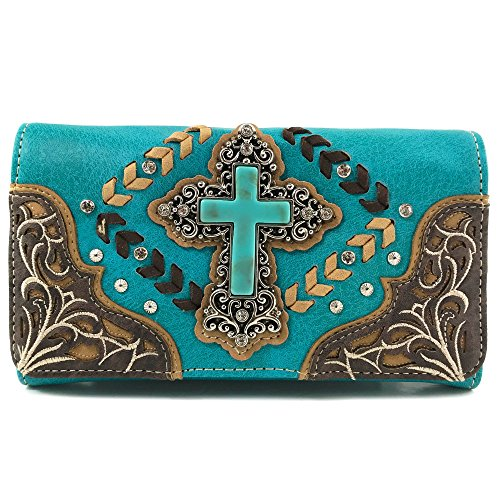 Justin West Trendy Western Cross Rhinestone Leather Conceal Carry Top Handle Square Backpack Purse (Turquoise Wallet (Fashion Trendy Cross)