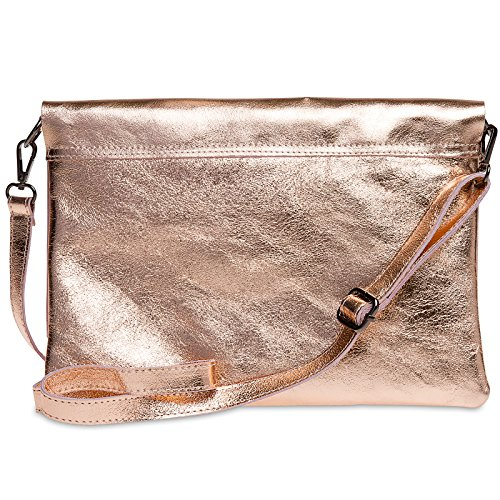 Rose Ladies CASPAR Envelope Leather Evening Gold Large Clutch Shoulder with Metallic Strap TL770 Bag qqwa7R