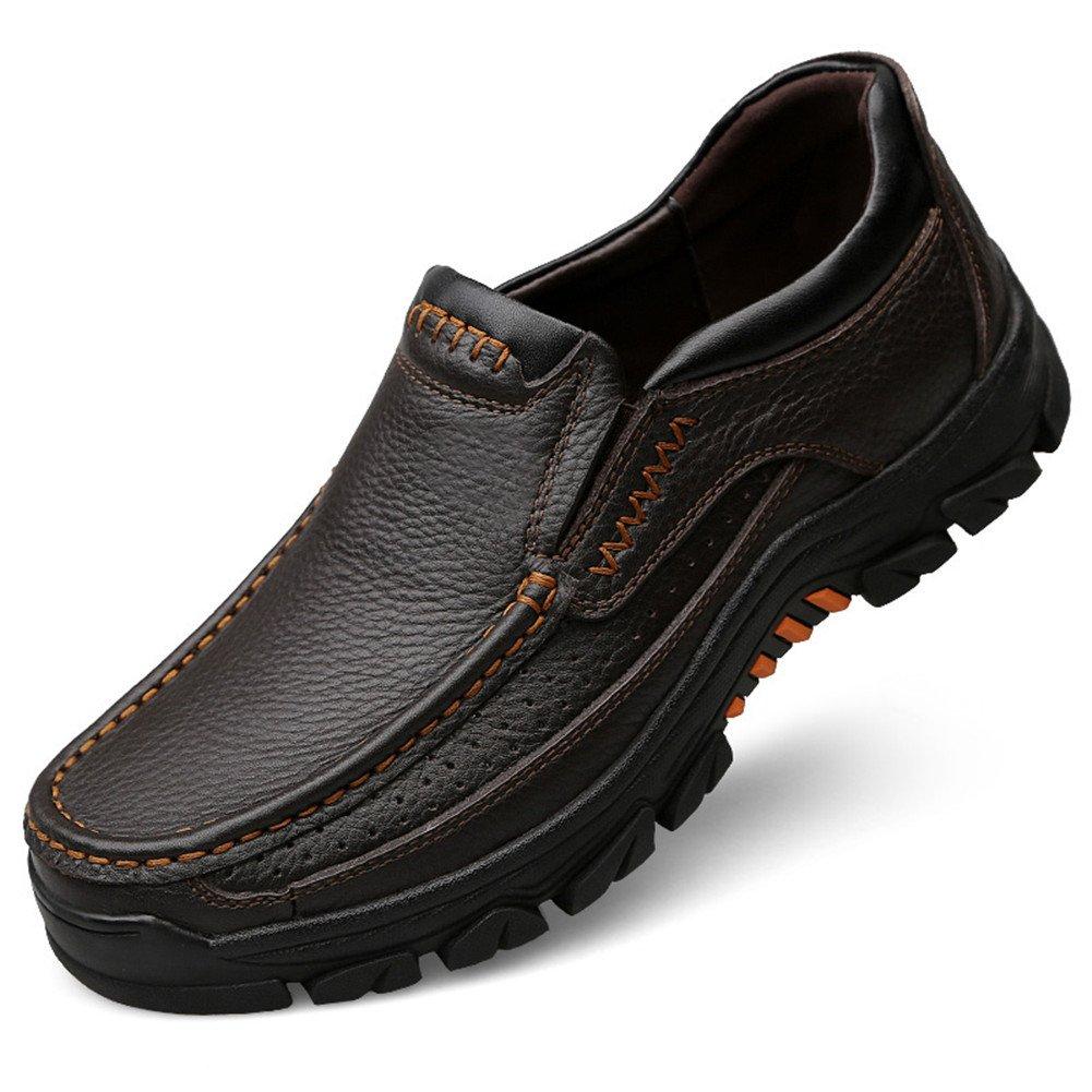 Zapatos de Cuero Casuales de los Hombres Slip on Mocasines Planos Formales Colores Negro y Marrón 46 EU|Marrón