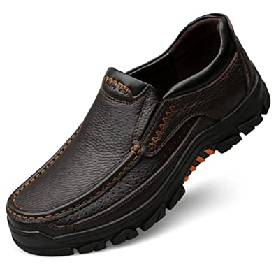 Chaussures en Cuir décontractées pour Hommes Slip sur Les Mocassins Plats  Formels Noir et Marron ( 9968eaef550