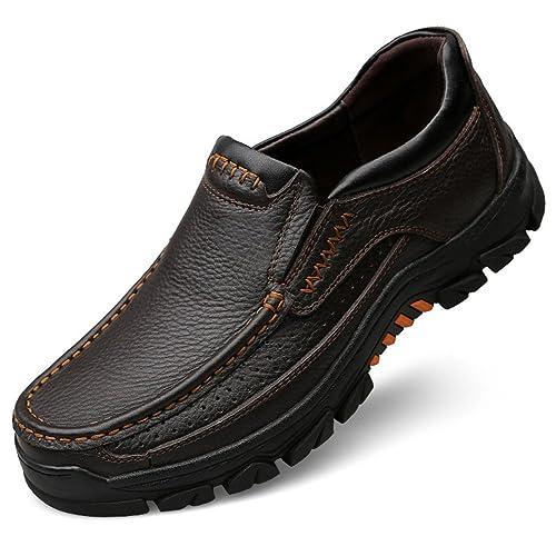Zapatos de Cuero Casuales de los Hombres Slip On Mocasines Planos Formales Colores Negro y marrón