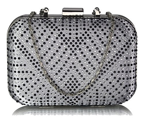 Case Hard Clutch Silver Diamante UK Gorgeous FREE DELIVERY Bag xwaTnE5Sq
