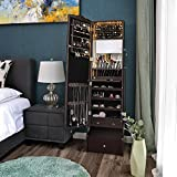 SONGMICS LED Jewelry Cabinet Armoire Lockable Jewelry Organizer with Mirror, Makeup Tray and Large Drawer Base Brown UJJC87BR