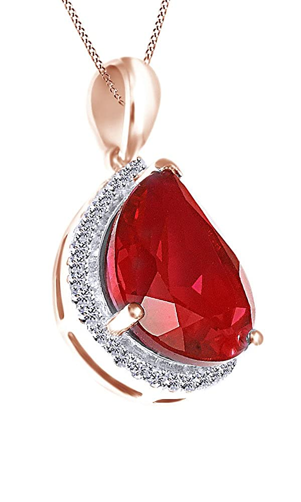 6.17 Ct Jewel Zone US Pink Simulated Ruby /& White Cubic Zirconia Pear Pendant Necklace in 925 Sterling Silver