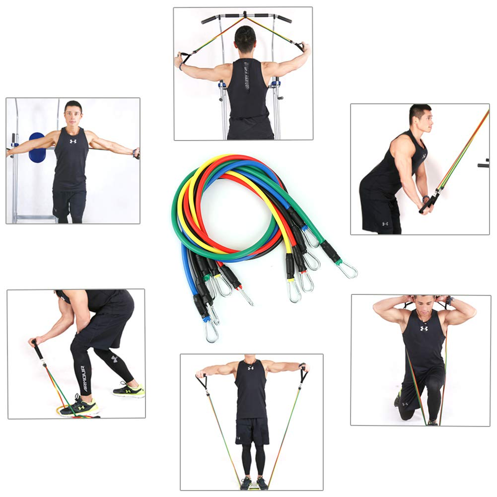 Exercise Kits Fitness Band Stretch Loops Resistance Bands Set with Fitness Tubes/Handles/Door Anchor/Ankle Straps/Carrying Pouch/Core Sliders for Men/Women Glutes Workouts/ Pilates/ Yoga/ Recovery