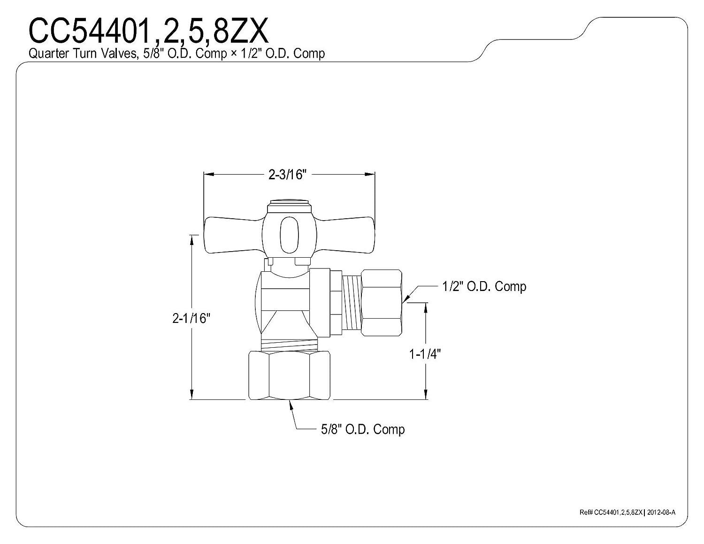 Polished Chrome KINGSTON BRASS CC54401ZX Millennium 5//8-Inch OD Compression X 1//2-Inch OD Compression Angle Stop