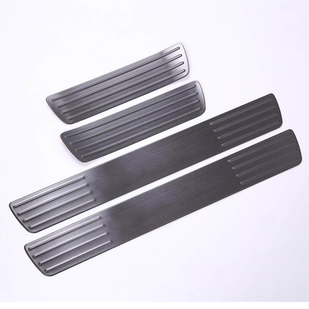 Black Logo 4pcs for Mercedes Benz GLE Sports Style YUECHI Stainless Steel Door Sill Scuff Interior Protector Plate Pedal Silver