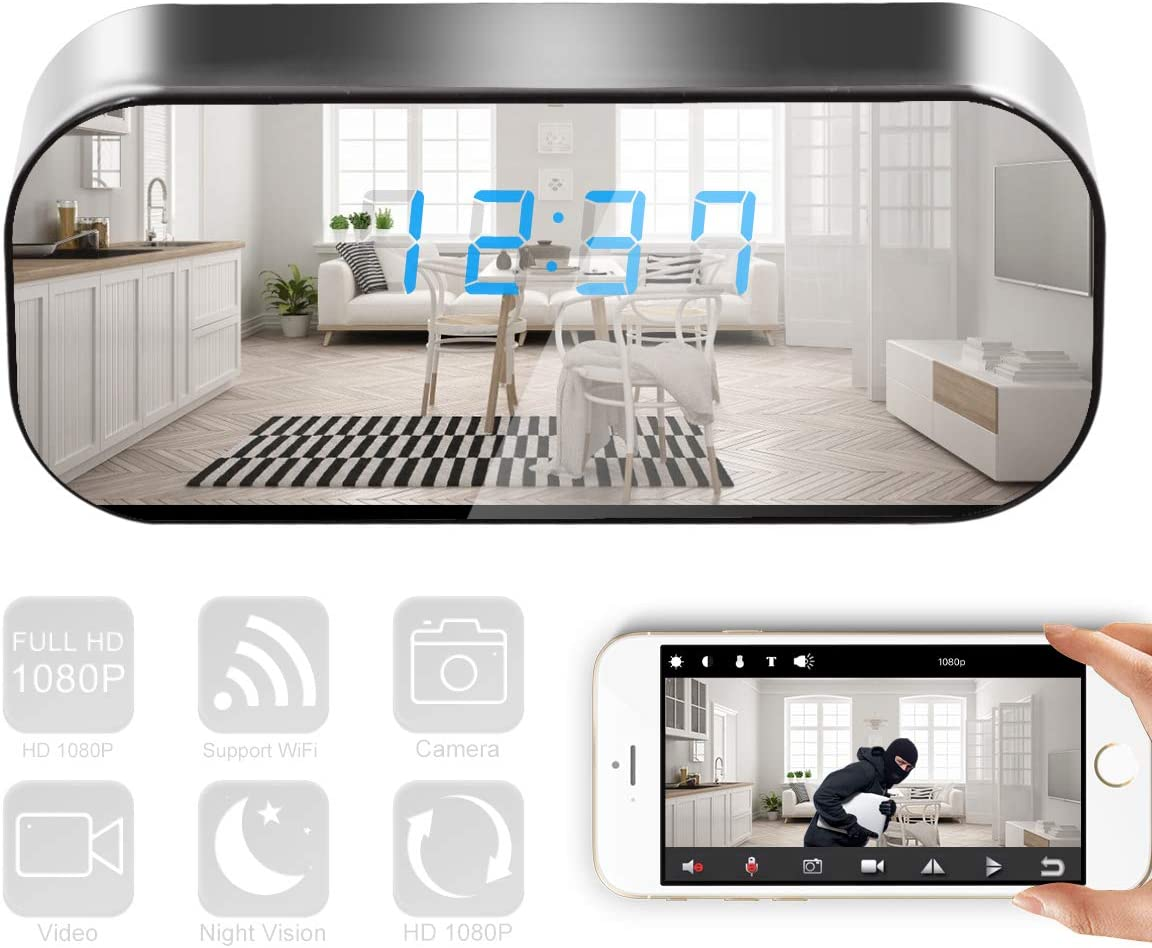 WiFi Clock Camera HD 1080P Wireless Nanny Security Alarm Clock Hidden Camera, Video Recorder with Motion Detection, Night Vision for Home/Office