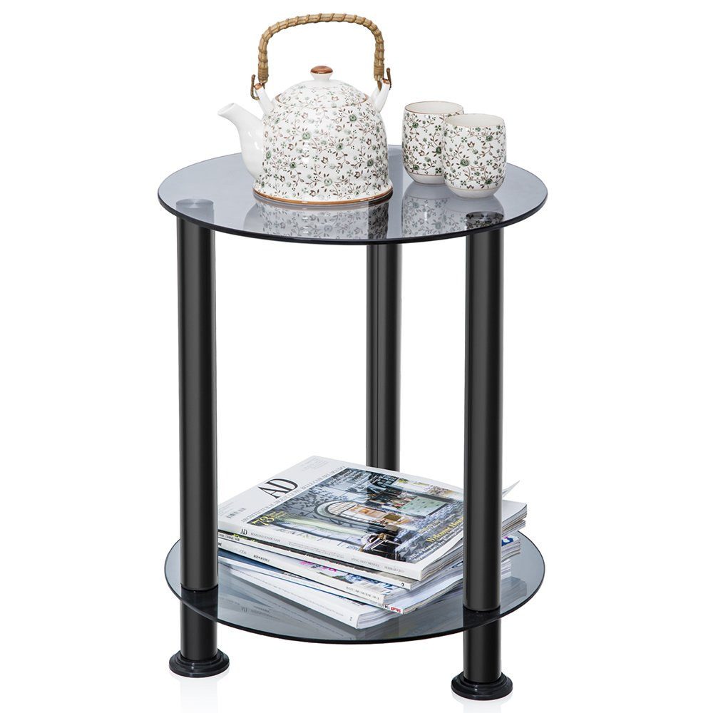 FITUEYES Glass End Table Accent Table Sofa Side Table Coffee Table with Storage Shelf for Living Room DT203801GT