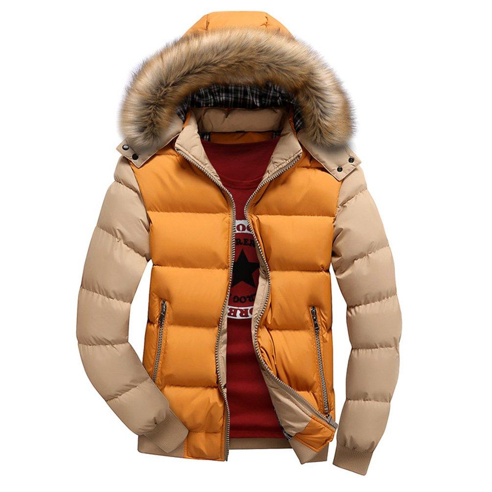 730938870e412 YOUJIA Hommes Manteaux d hiver Veste avec Fausse Fourrure Capuche ...