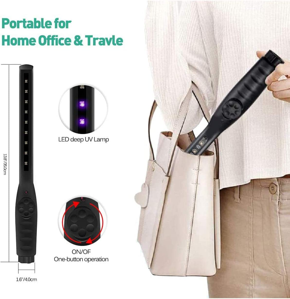 RL Portable Rechargeable UV Sterilizer Lamp for Germs Virus Disinfection Light Bulb UV Phone Sanitizer for Home Office Travel Sterilization Black