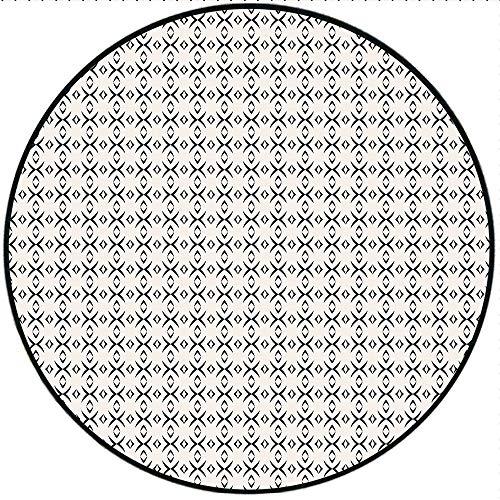 Short Plush Round Rug Geometric Geometrical Lines Stripes Plus Like Image with Light Grey Backdrop Art Black and White Living Room Coffee Table 47.2