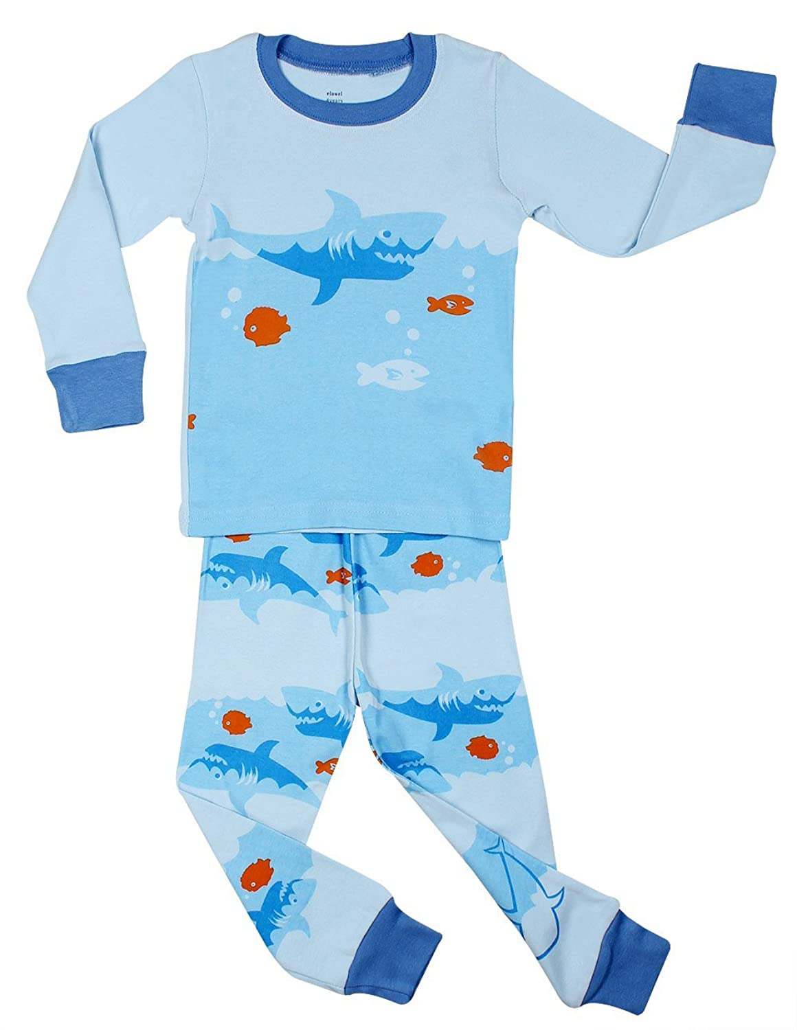 com elowel little boys shark fish piece pajama set  com elowel little boys shark fish 2 piece pajama set 100% cotton 6m 8 years clothing