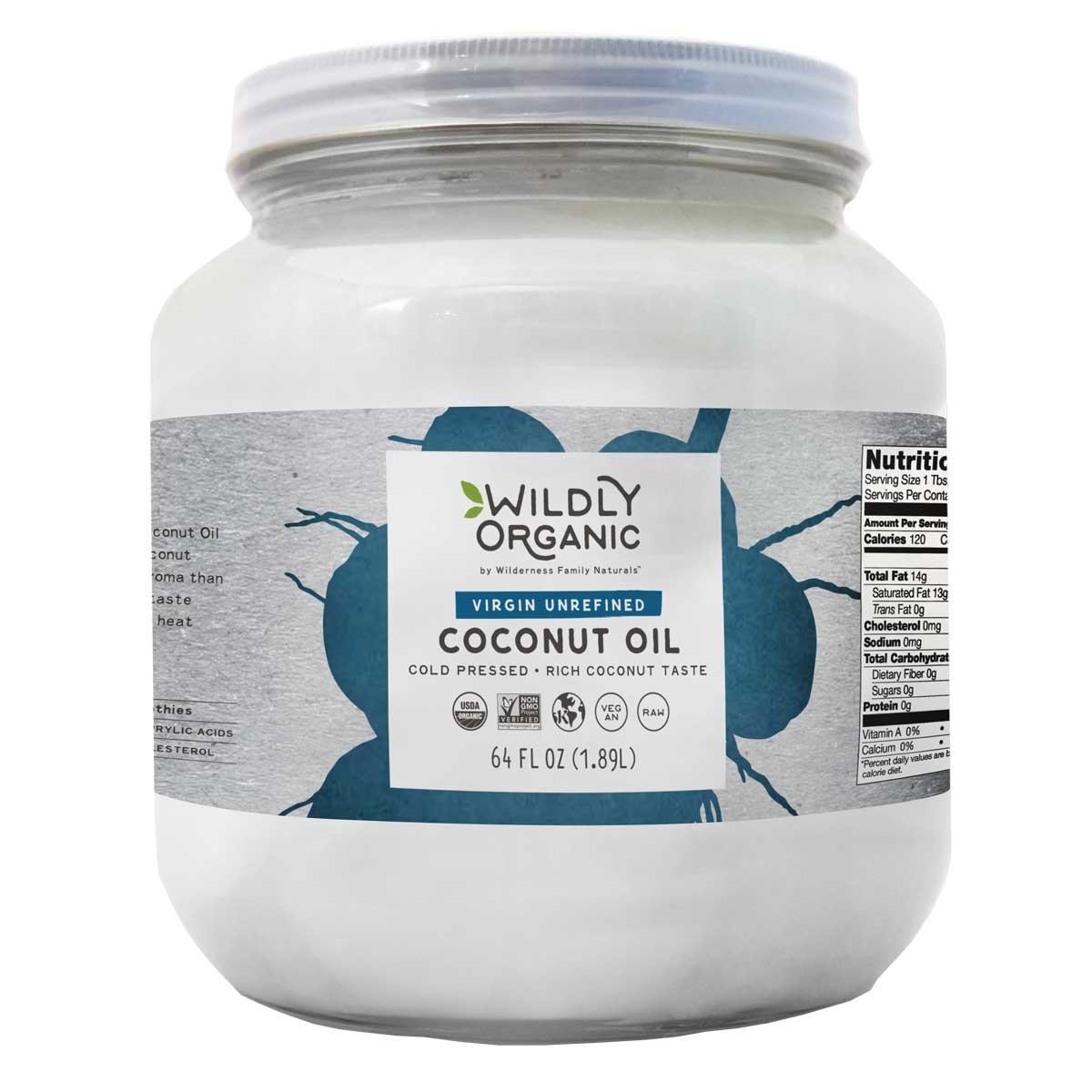 Wildly Organic Coconut Oil Virgin Unrefined (Same As Extra Virgin, Cold Pressed), Non-GMO, Raw - 64 FL OZ