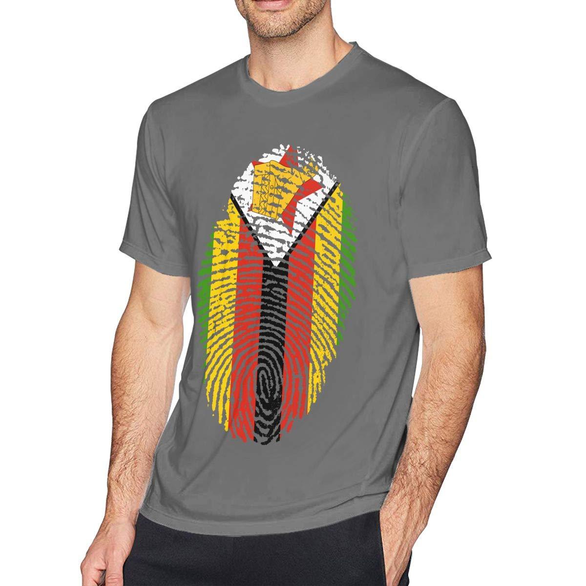 SUMT4men Zimbabwe Mens Crew Neck Short Sleeve T-Shirt Casual Shirt for Men