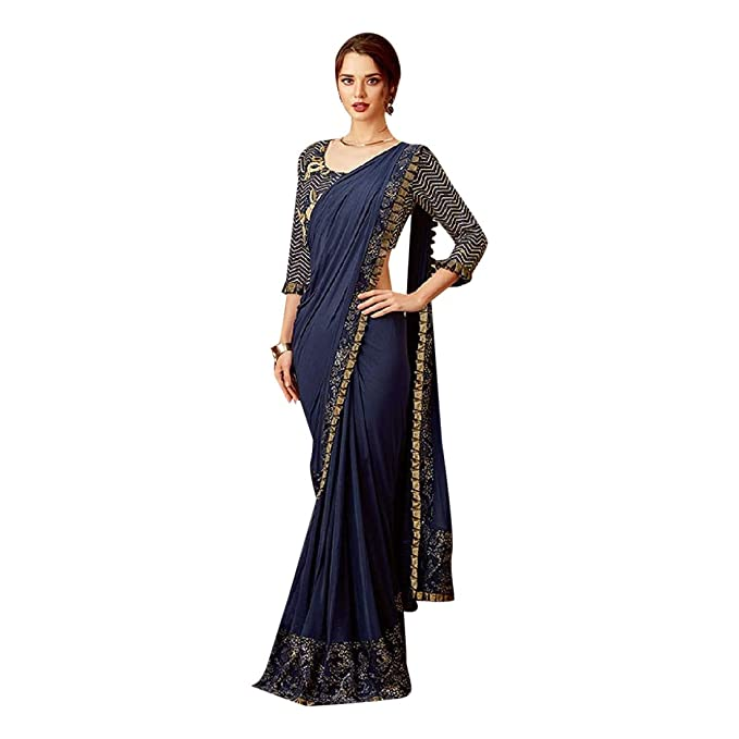 Amazon.com: Indian Navy Blue Wrap Dress Sari Ethnic Hindu ...