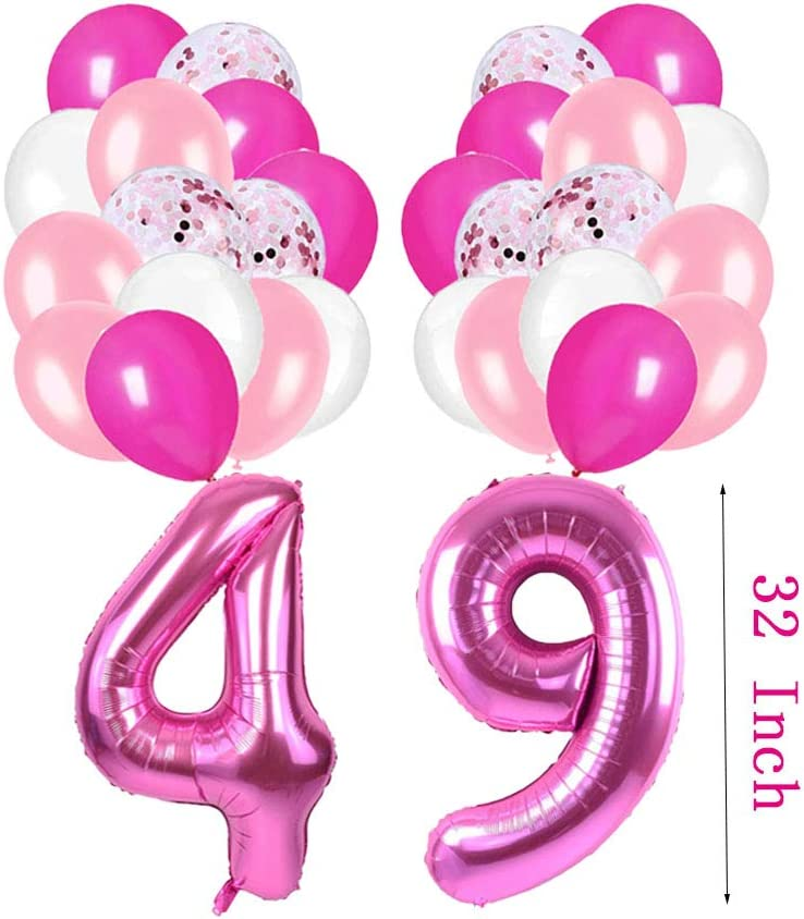 Happy 49th Birthday Party Decorations Pink Latex,Rose Red Latex and Sequin Balloons Happy Birthday Banner Foil Number Balloons and More for 49 Years Old Birthday Party Supplies