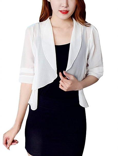 Huixin Cardigan Mujer Verano Elegante Manga Corta Color Sólido Bolero Fino Casuales Chaqueta Cazadoras Fiesta Camisas Fashion: Amazon.es: Ropa y accesorios