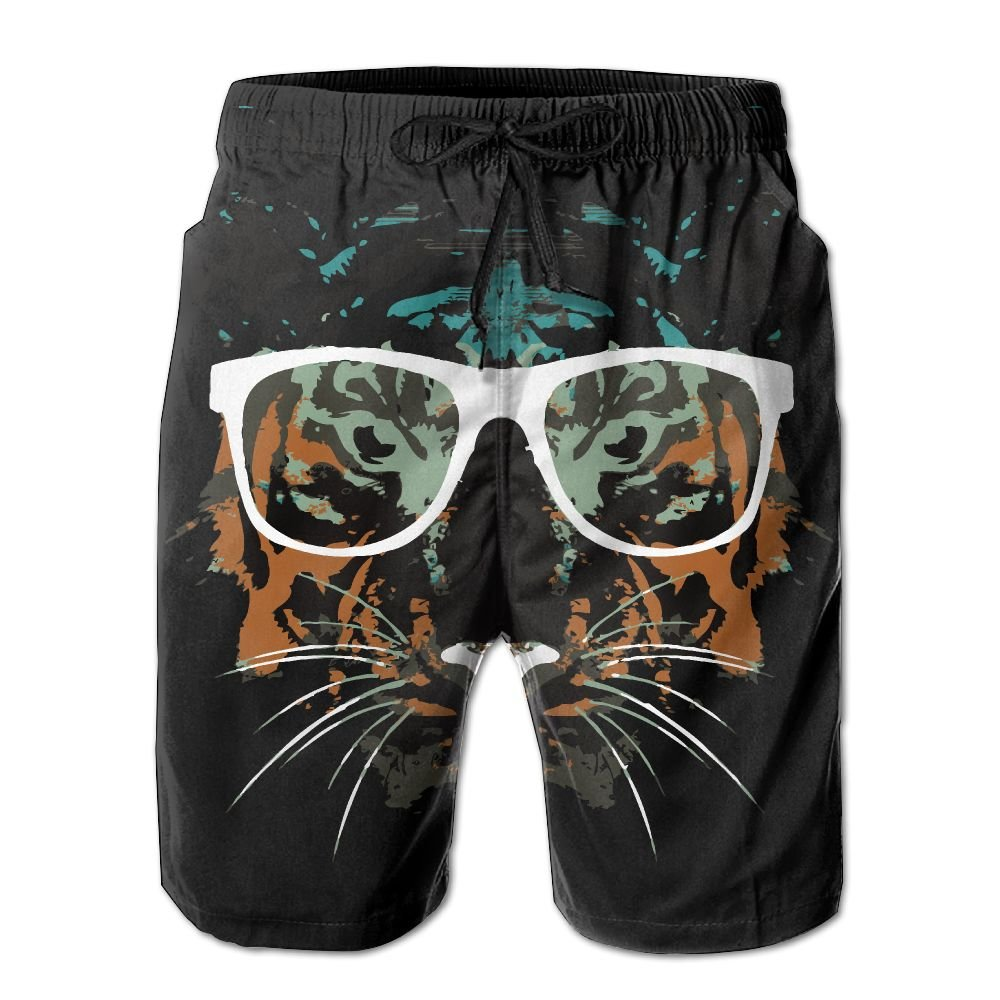 Tiger With Glasses Boys Quick Dry Boardshorts Printed Home Shorts With Pocket