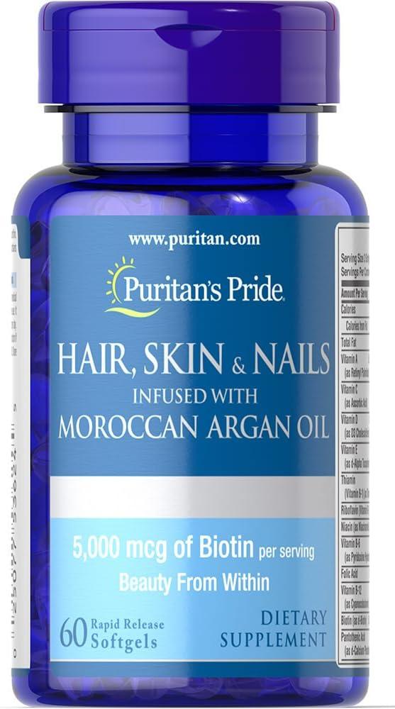 Hair, skin and nails (cabelo, pele e unha), 5000mcg, infundidos com óleo de argan marroquino, 60 cápsulas