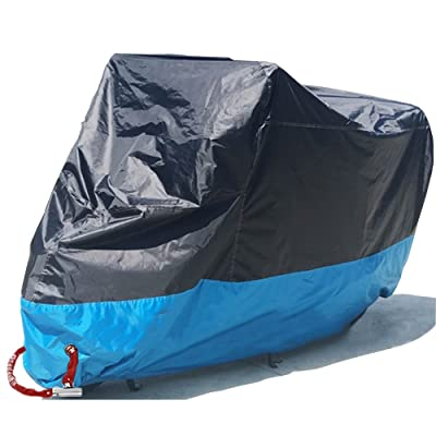 "Motorcycle Cover Waterproof, Outdoor Motorbike Scooter Covers Prevent Rain Sun UV Dustproof for Any Season Any Weather with Never Rust Copper Lock Holes Buckle Black and Blue 78.7""x35""x39"" M: Automotive"