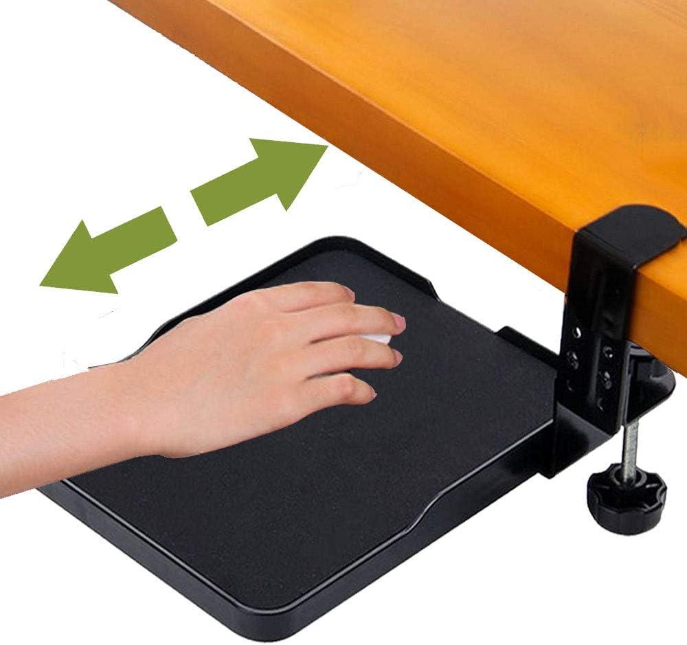 FUZADEL Ergonomic Mouse Tray Attachment Mouse Platform Slide Out Clamp On Under Desk (Black)