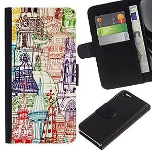 Apple (4.7 inches!!!) iPhone 6 Modelo colorido cuero carpeta tirón caso cubierta piel Holster Funda protección - Churches Pen Art Hand Drawn