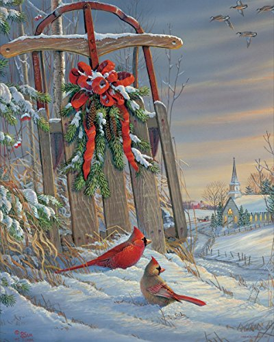 Springbok Puzzles - Winter Red Birds - 1000 Piece Jigsaw Puzzle - Large 30 Inches by 24 Inches Puzzle - Made in USA - Unique Cut Interlocking Pieces