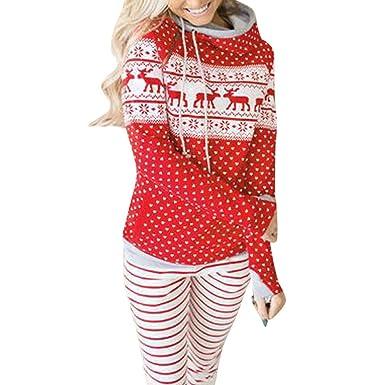 774a55f55441 TianWlio Weihnachten Pullover Langarmshirt Bluse Hoodie Frauen Herbst  Winter Weihnachten Reißverschluss Kapuzenpullover Pullover Bluse T-Shirt  Punkte ...