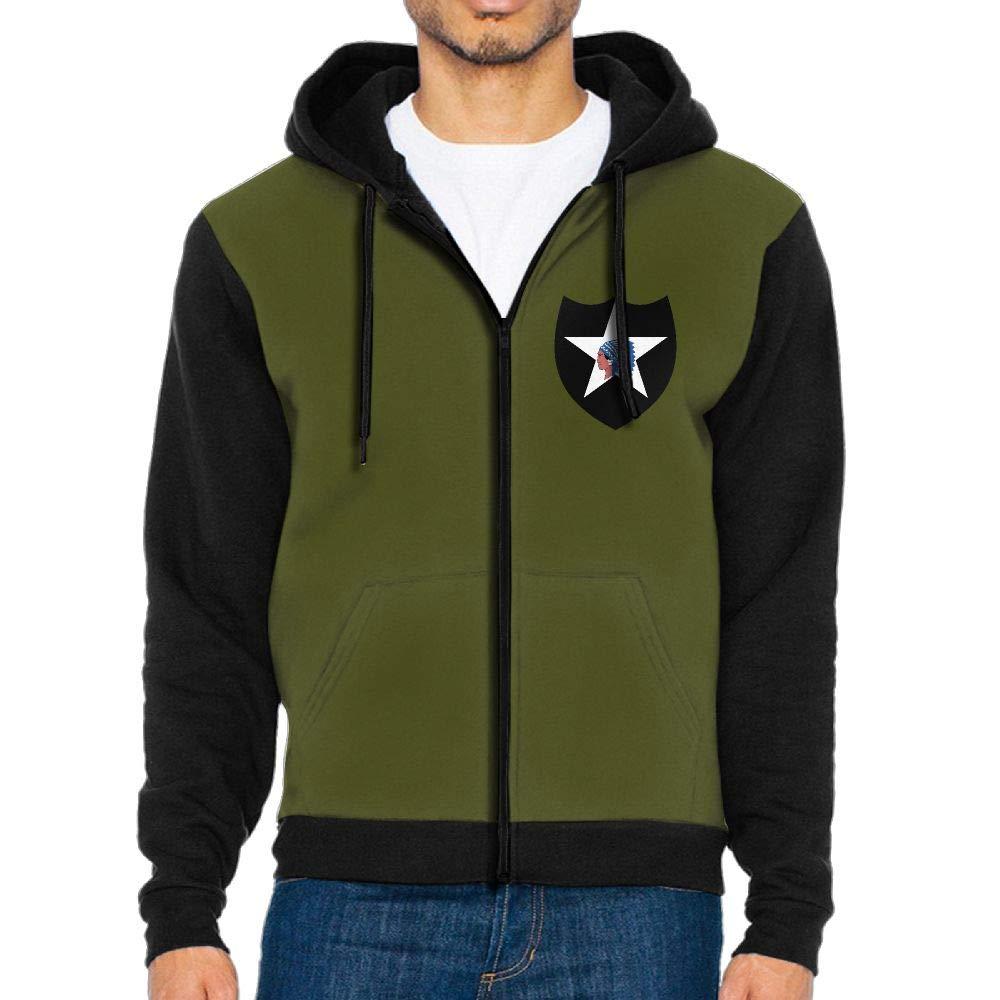 ETAJIA Army 2nd Infantry Division Mens Zip Up Jacket Hoodie Sweatshirt