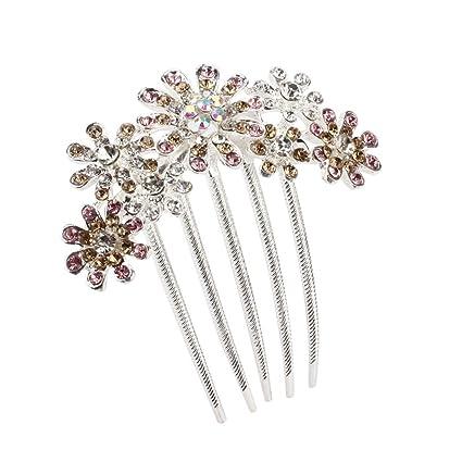 33ebeec96 Botrong Hair Side Combs, Womens Crystal Rhinestone Petal Comb Flower Hair  Pin Clip Accessories (