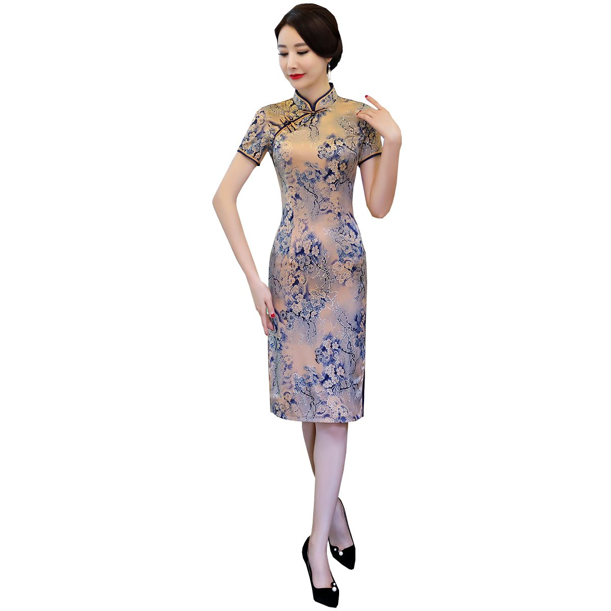 KUFEIUP Chinese Traditional Cheongsam Qipao Wedding Dress For Women