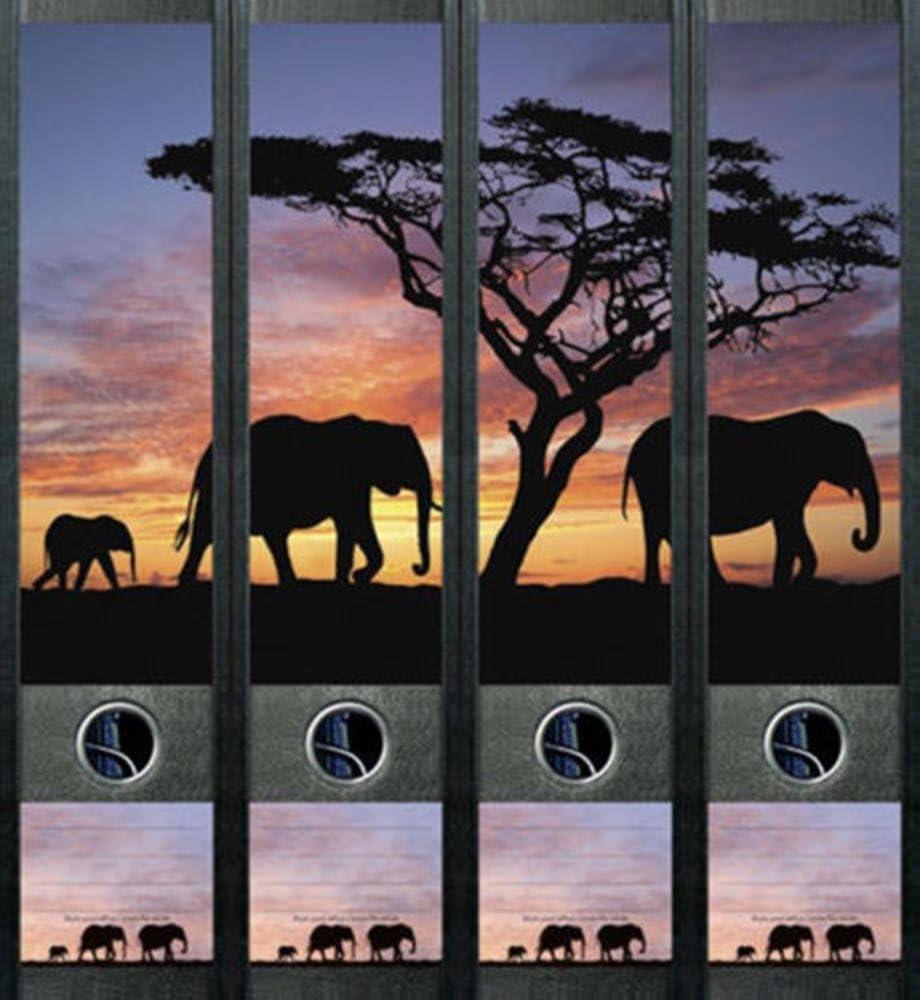 Ordnerr/ücken Elefant Afrika Ordner Ordneraufkleber Aufkleber Deko 425
