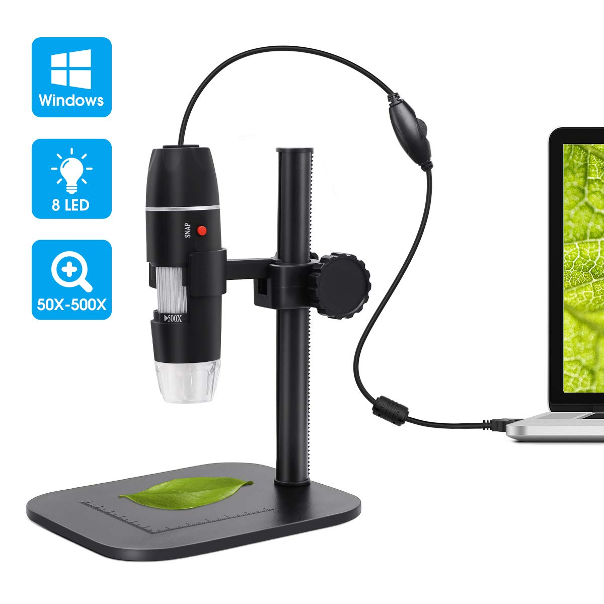 USB Digital Microscope, DEPSTECH Portable 50-500X Microscope with 8 Brightness Adjustable LEDs and Measuring Ruler, Compatible with Windows XP / 7/8 / 10, Suit for Kids and Lab by DEPSTECH