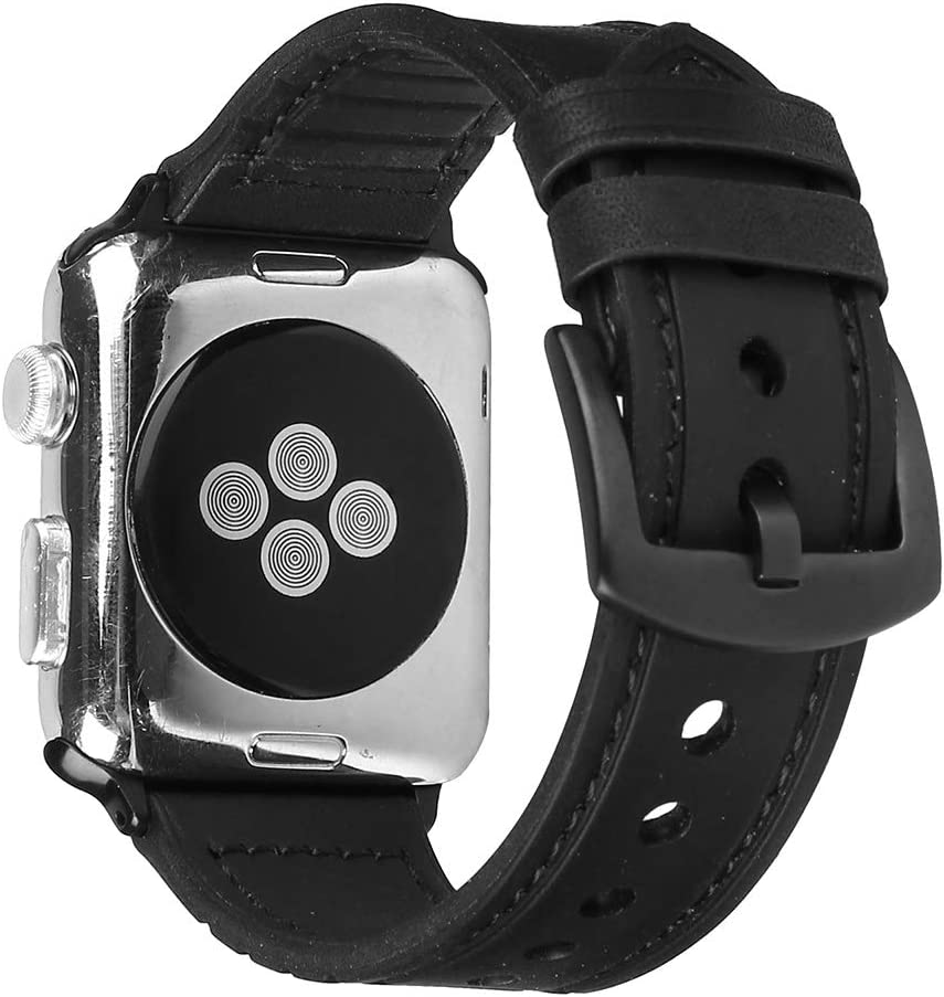 for Iwatch Series 4 44mm Leather Watch Band - Leather Smartwatch Band Strap with Stainless Steel Buckle for Iwatch Series 4 44mm (Black)