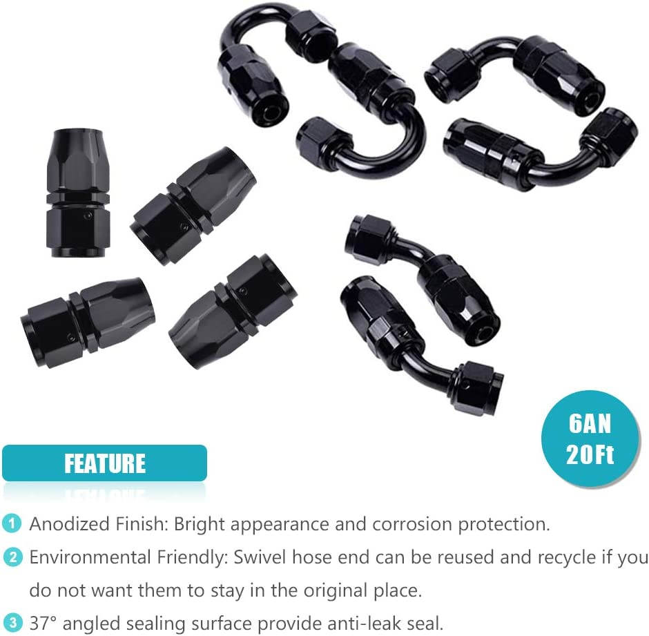 16FT 6AN 3//8 ID Nylon Stainless Steel Braided CPE 8.71mm Fuel Line with 10PCS Swivel Hose End Fittings Adapter Kit Universal Black