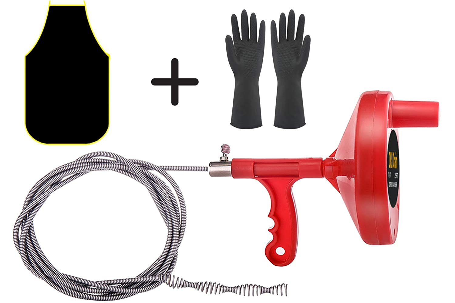 Plumbing Snake Drain Auger Clog-Remover - Hair Catcher Tool 25Ft Cable with Work Gloves and Apron (RED) Dr.Drain