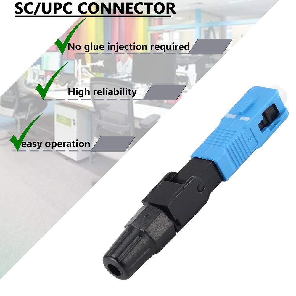 BFHCVDF SC//UPC 10Pcs Lote FTTH Integrado R/ápido Montaje r/ápido Conector de Fibra /óptica Negro y Azul