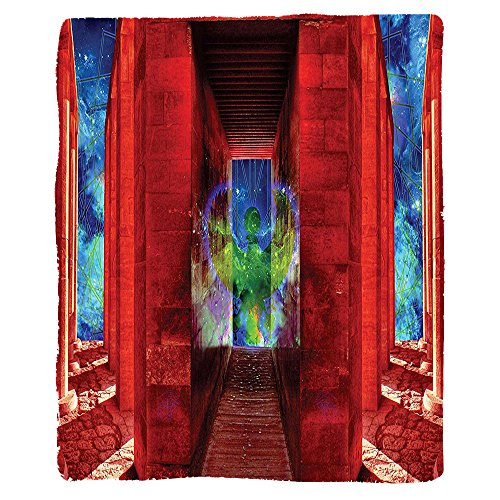 Kisscase Custom Blanket Egypt Phoenix Greek Myth Creature Reborn Bird in Building with Stairs Digital Image Bedroom Living Room Dorm Orange Blue