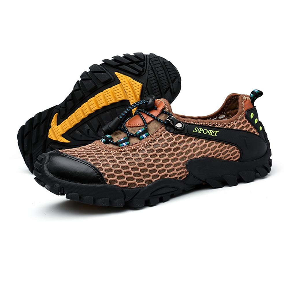 Ywqwdae Mens Bequeme Outdoor Schuhe Rutschfeste Atmungs Convinient Water Schuhe (Farbe   Khaki, Größe   EU 42)