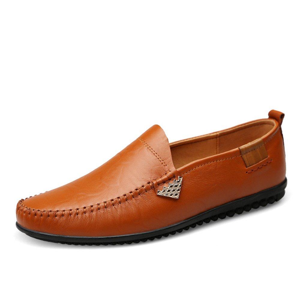 Slip en Mocasines Casual de Cuero Genuino para Hombre Zapatos de Conducción Respirables 38 EU|Light Brown