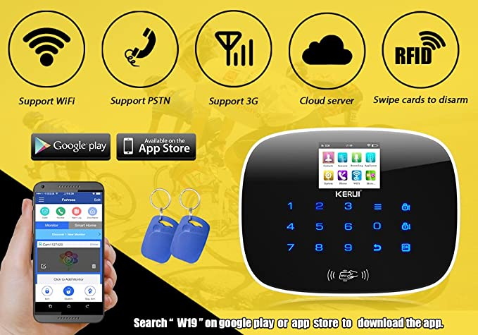 Amazon KERUI W193 Wireless Alarm System WIFI 3G PSTN Auto Dial DIY Kit RFID Card GSM Free APP Remote Control Home Improvement