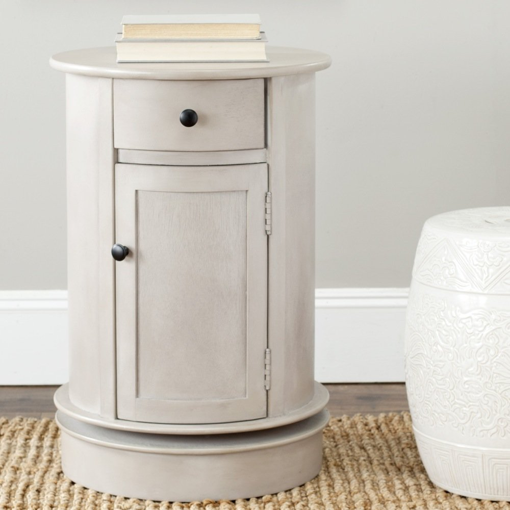 Safavieh American Home Collection Oval Swivel Storage End Table, Vintage Grey