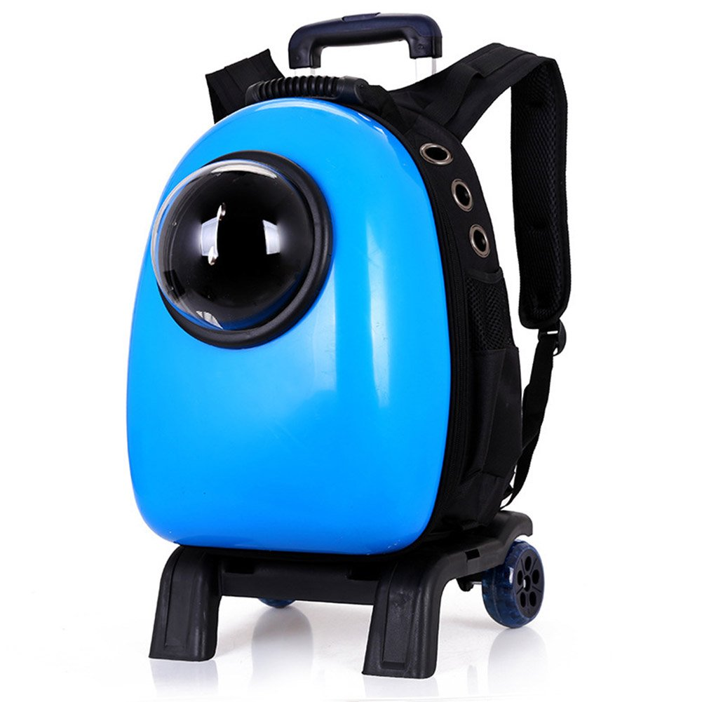 bluee JOEPET Portable Pet Travel Breathable Backpack,Space Capsule Bubble Design with 2 wheels,Waterproof Handbag Backpack for Cat and Small Dog(black)