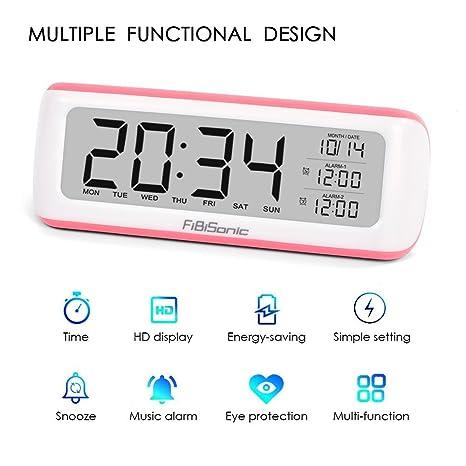 FiBiSonic Despertador Digital Silencioso Reloj Despertador LCD de Modo de Protección de Ojos para Niños
