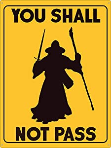 """HomDeo Metal Vintage Signs You Shall Not Pass Tin Sign, Wizard Tin Sign Ranch Man Cave Farm 8""""x12"""" Wall Unique Decor"""