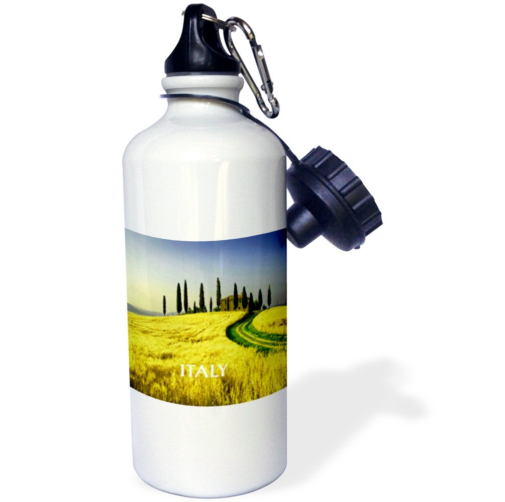 3dRose wb_80679_1 ''Beautiful Hills Of Tuscany Italy'' Sports Water Bottle, 21 oz, White